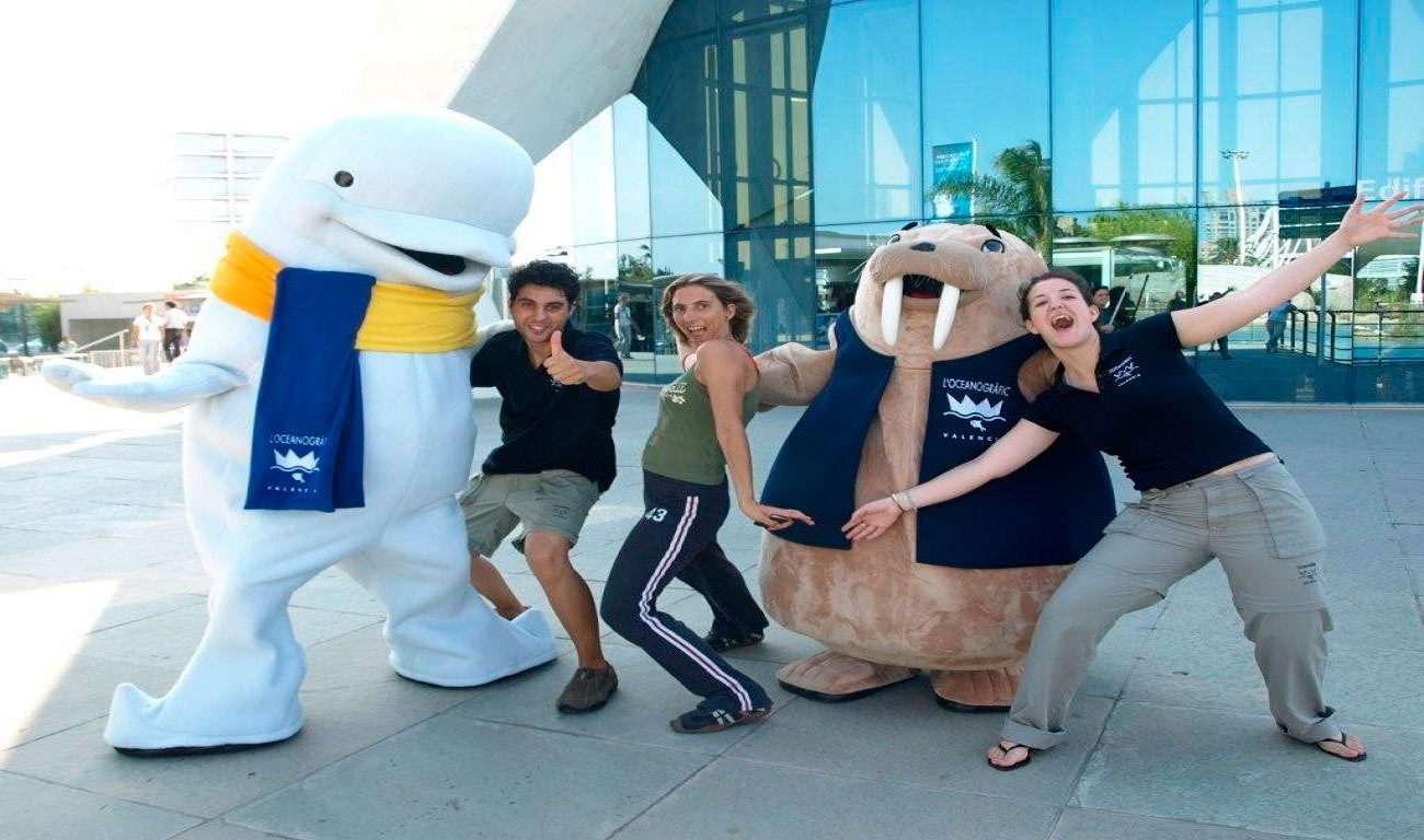 Advertising Mascots - two giant walruses of a walrus and a dolphin